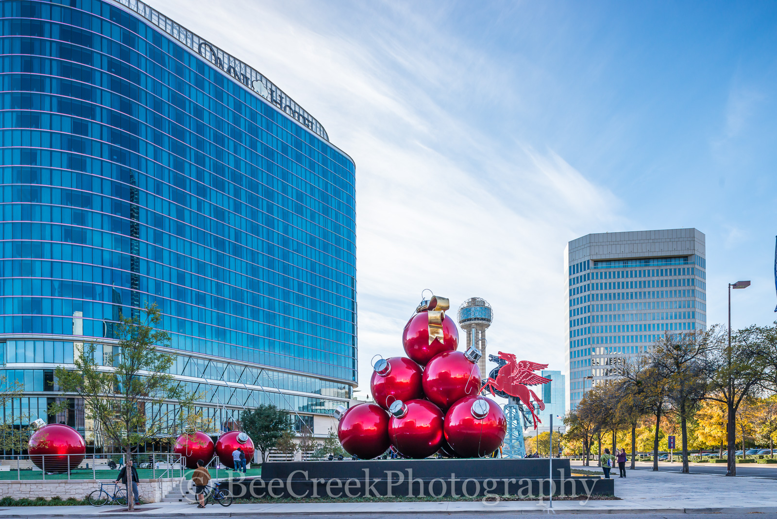 Christmas, Dallas, Omni Hotel, Pegaus, bars, buildings, cities, city, cityscape, cityscapes, downtown, historic, holiday, lifestyle, ornaments, red, restaurants, reunion tower, photo