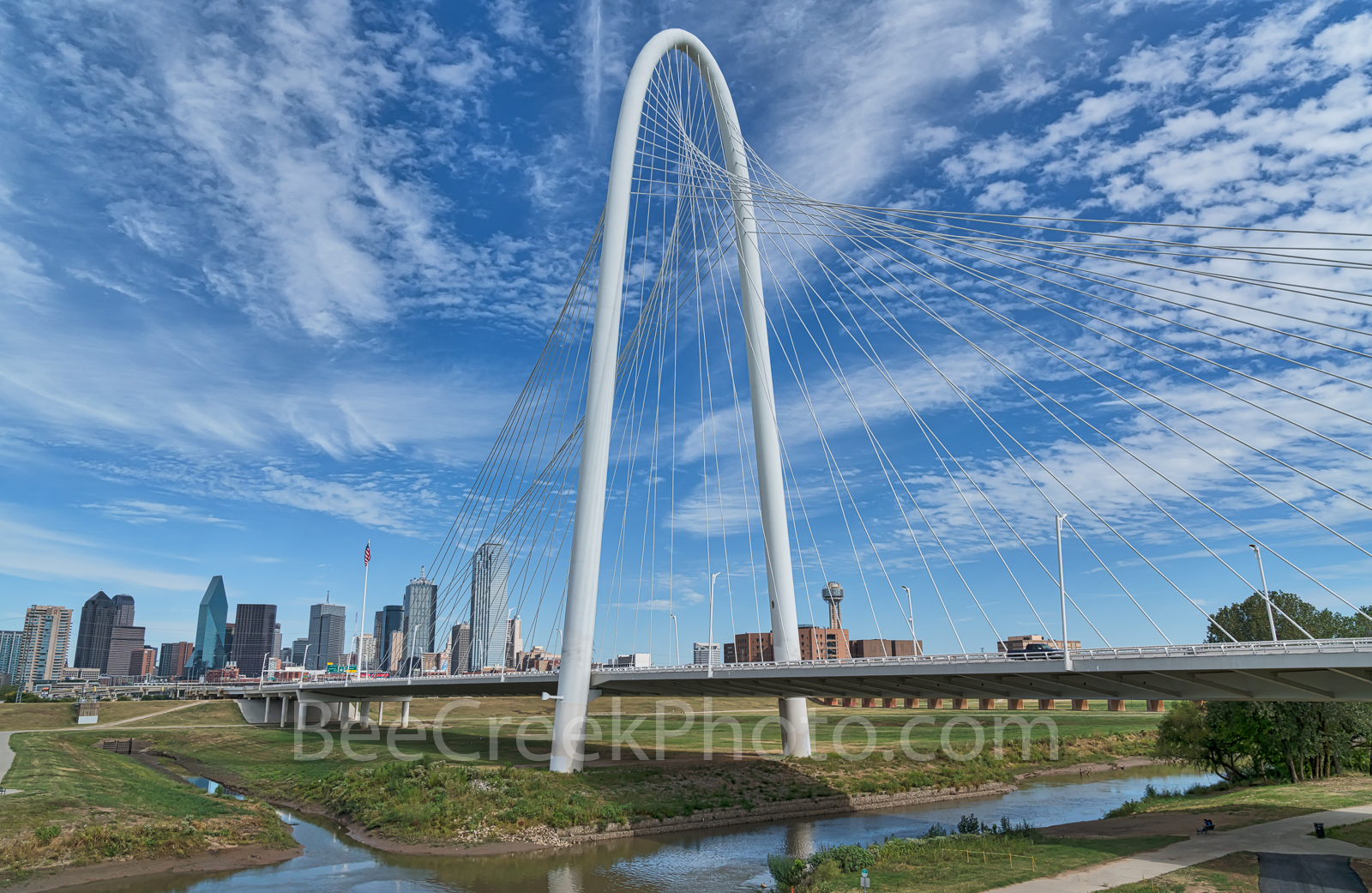 Dallas, cityscape, blue sky, clouds, downtown, Margaret Hunt Hill Bridge, Trinity River,, buildings, city,, photo