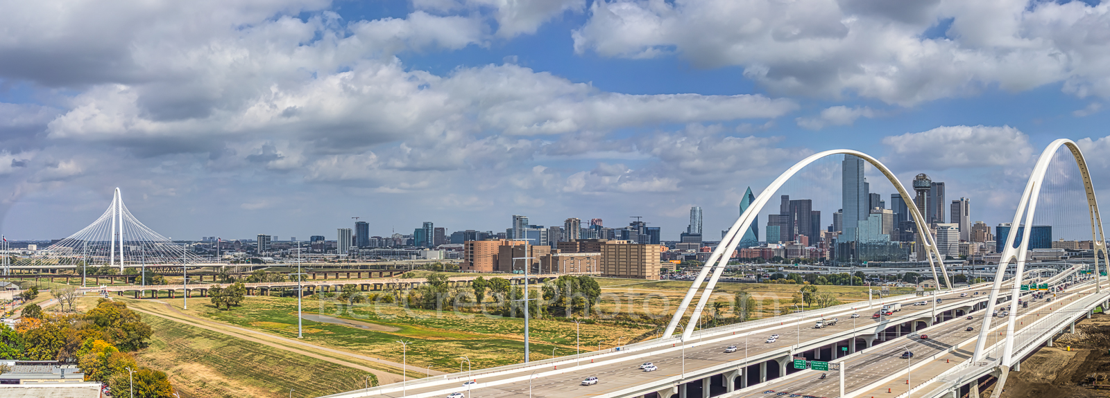 Dallas cityscape, pano, Margaret Hunt Hill bridge, Margaret McDermott bridge, Trinity River, dowtown, aerial, dallas skyline stock photos, clouds, blue sky,, photo