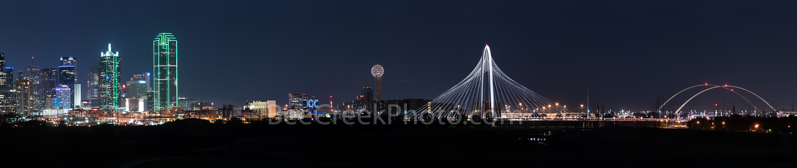 Dallas, skyline, view, Margaret McDermott Bridge, Margaret Hunt Hill Bridge, cityscape, downtown, iconic, Reunion Tower, bank of america plaza,Renaissance Tower, Comercia Bank Tower, Omin Hotel, high , photo