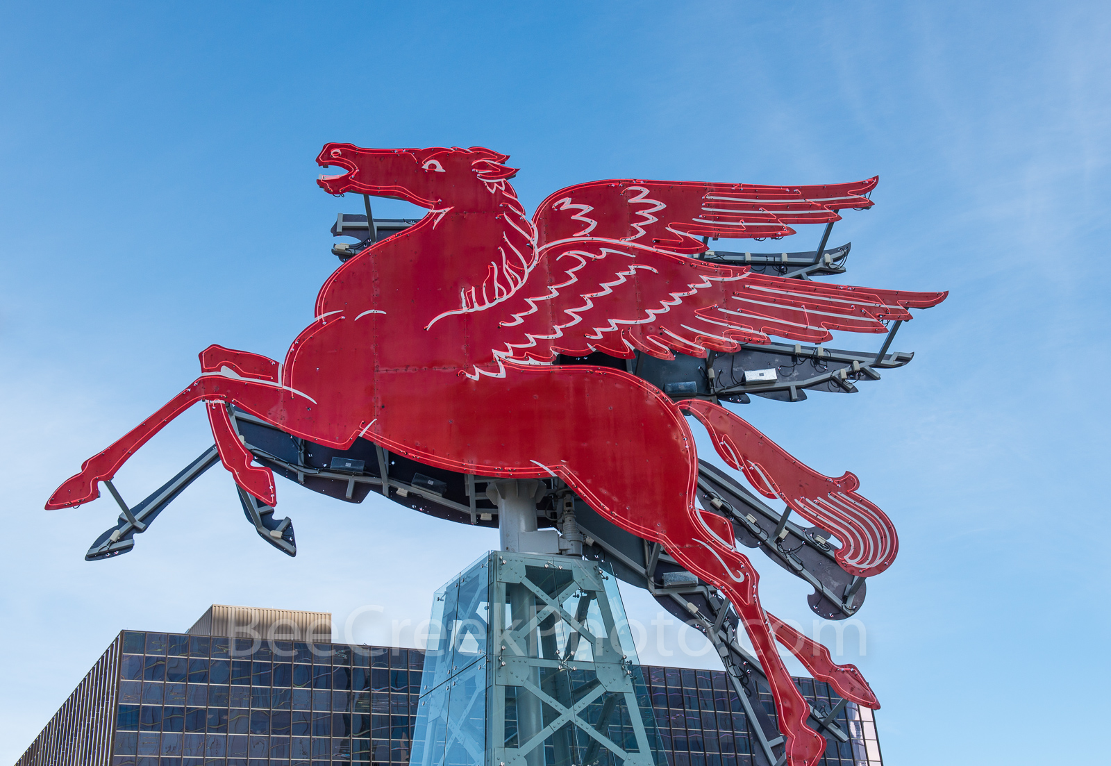 Dallas, Magnolia Hotel, Magnolia Oil company, symbol, Pegasus, cityscape, cityscapes, downtown, flying horse, neon, neon sign, oil derrick, red, Omni, Hotel,  , photo