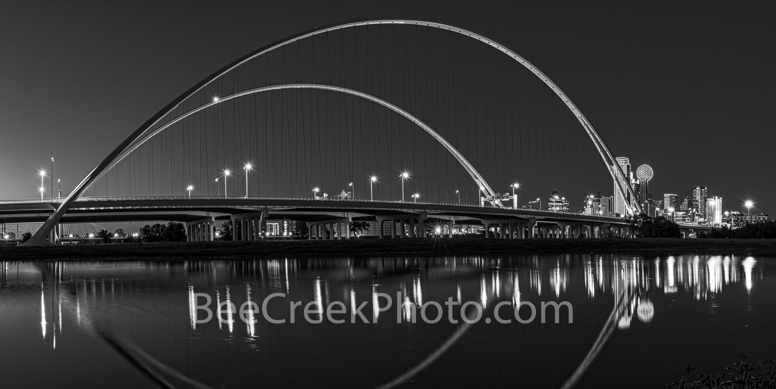 Dallas McDermontt bridge Reflection, Dallas, skyline, cityscape, Margaret McDermott Bridge, downtown dallas, twilight, dallas downtown, two arches, Trinity River, I30, Trinity project, Santiago Calatr, photo