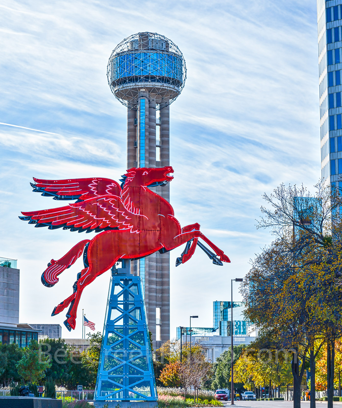 Dallas, Pegasus, city, cityscape, cityscapes, downtown, iconic, landmarks, reunion tower, photo