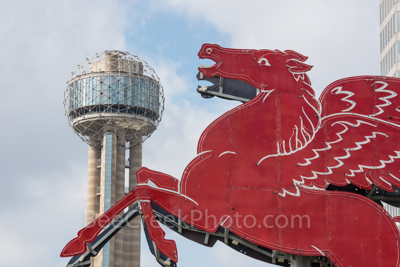 Dallas Pegasus and Reunion Tower, downtown, city, landmarks, daytime, Dallas stock photos, day, , photo