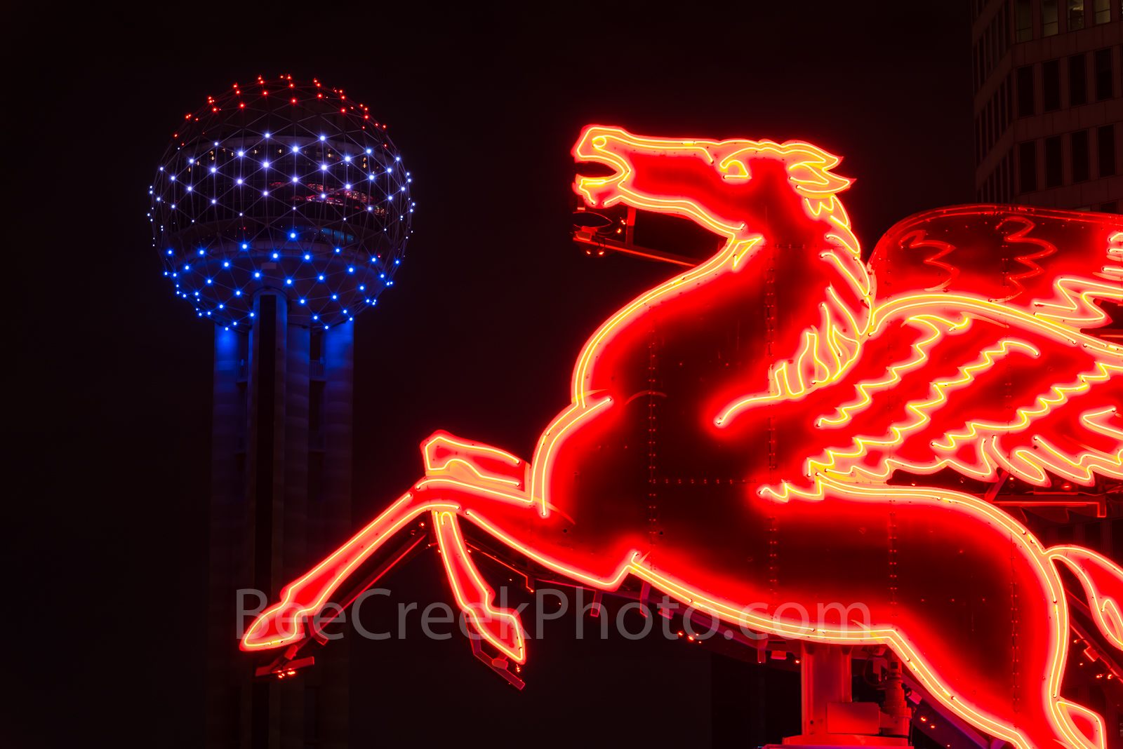 Dallas Reunion Tower and Pegasus, night,  Neon,  Pegasus, dark Reunion Tower, downtown, city,, landmarks, night, dark,Dallas stock photos, Dallas stock photos, , photo