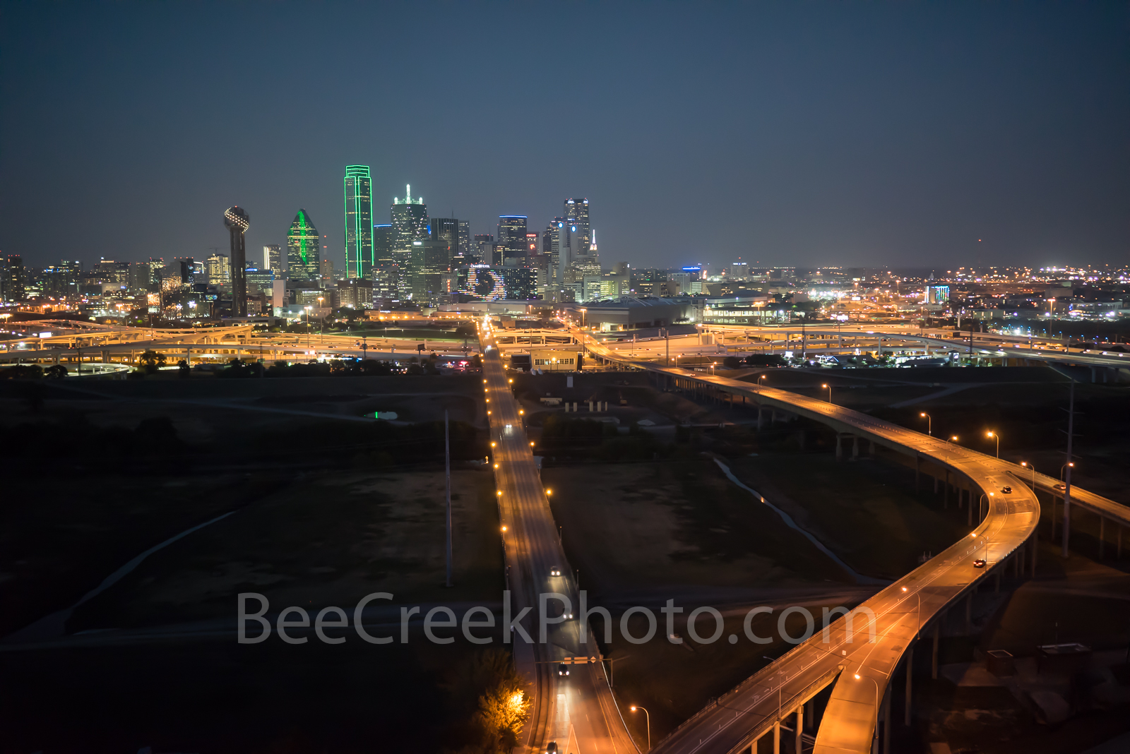 Dallas skyline, dark, aerial, city, roads, downtown, Trinity river, skyscrapers, Bank of America, landmark, Reunion tower, Comerica Bank bldg, Fountain Plaza, Omni Hotel, high rise, buildings, photo