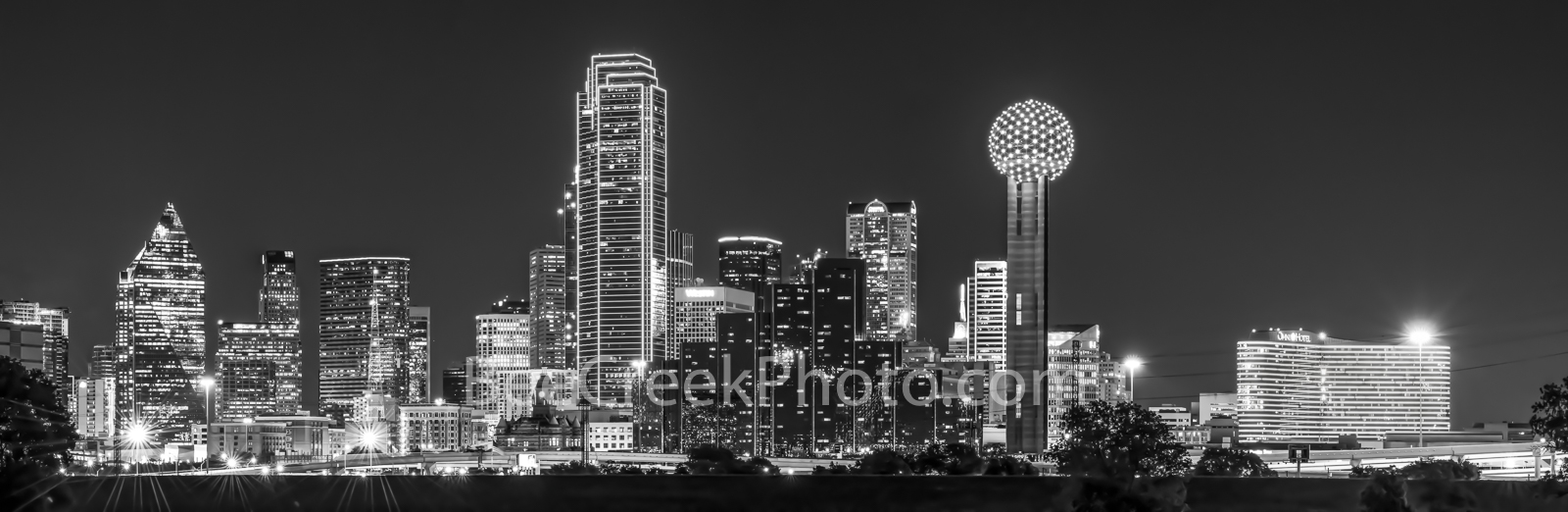 Skyline of Dallas Pano, night, black and white, b w, Dallas skyline, skylines, cityscape, cityscapes, city, downtown, citie, Reuion Tower, Heritage Plaza, Fountain Place, Bank of America, Omni Hotel, , photo