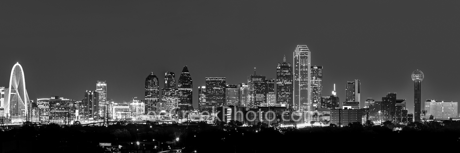 Dallas skyline, black and white, b w, Dallas, skylines, pics of texas, cityscape, panorama, panos, dark, night, iconic, skyscrapers, Margaret Hunt Hill Bridge, Reunion Tower, Bank of America, Omni,, photo