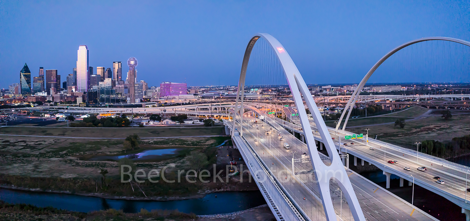 Dallas skyline, pink, panorama, Margaret McDermott Bridge, downtown, twilight, blue hour, Susan B Komen, Race for the Cure, Bank of America, Reunion Tower, Omni, steel, bridge, arches, Trinity River,,, photo