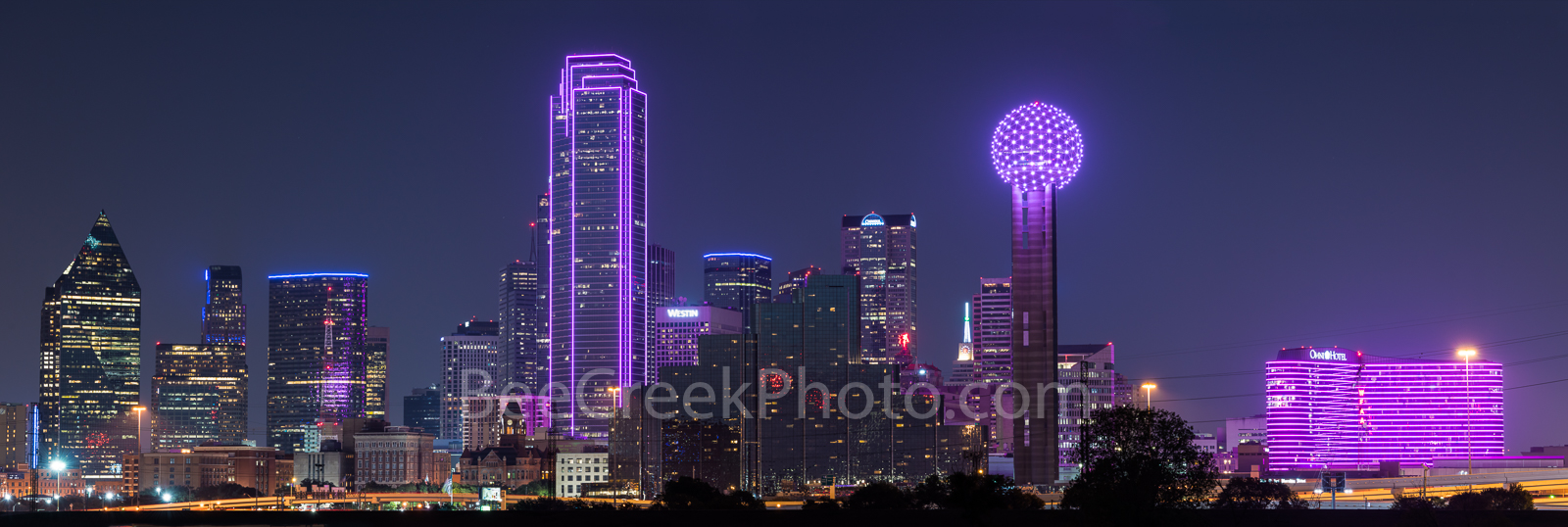 Dallas Skyline, pink, panorama, buildings, city, Bank of America, Reunion Tower, Omni, event, Breast cancer, Susan B Komen, Race for the Cure, Dallas skyline stock photos,, photo