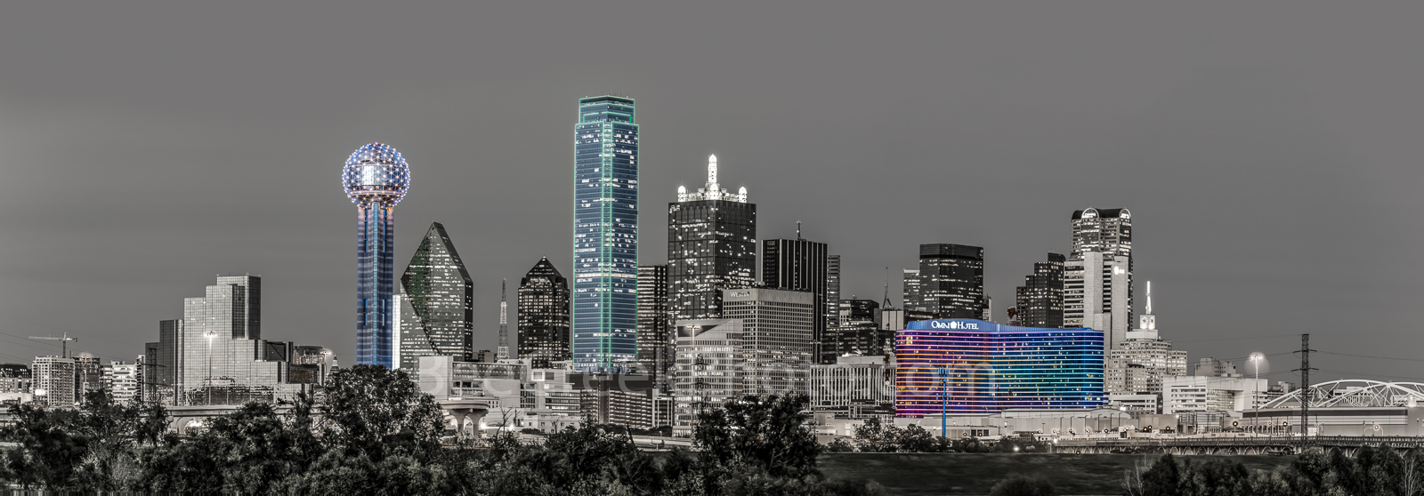 dallas skyline, black and white, touch of color, landmark, reunion tower, tower of america, omni, pop of color, cityscape, buildings, downtown, dallas, bw, , photo