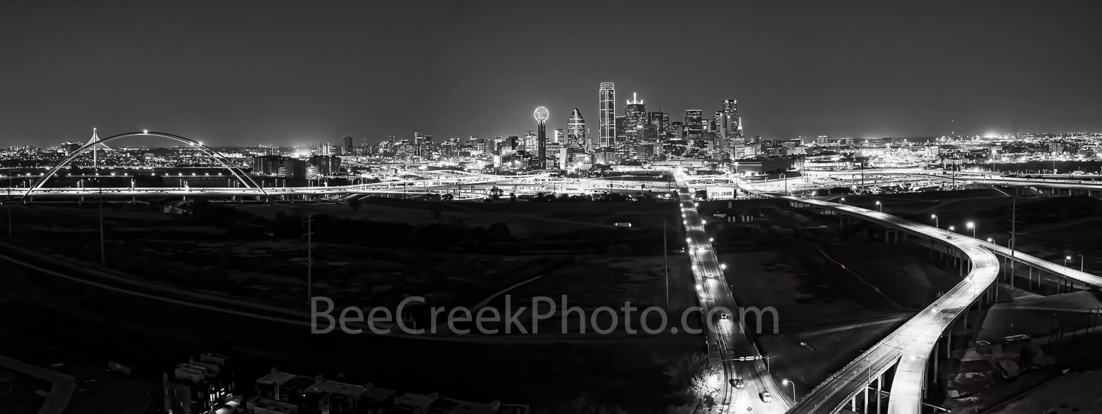 Dallas skyline pano, panorama, black and white, bw, BW,  dark, aerial, city, roads, downtown, Trinity river, Margaret Hunt Hill Bridge, Margaret McDermott bridge, skyscrapers, Bank of America, landmar, photo