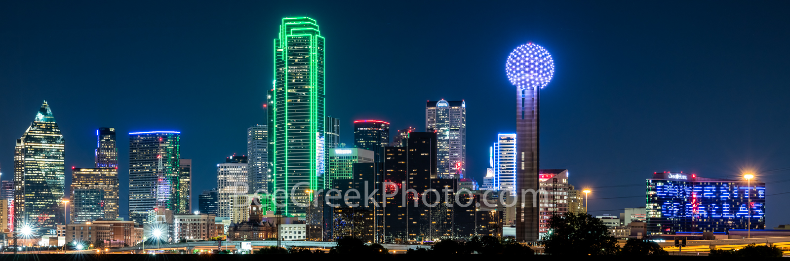 Dallas Skyline Pano Night 0052 - This is an panorama of the Dallas Skyline after dark with only the light from the high rise...