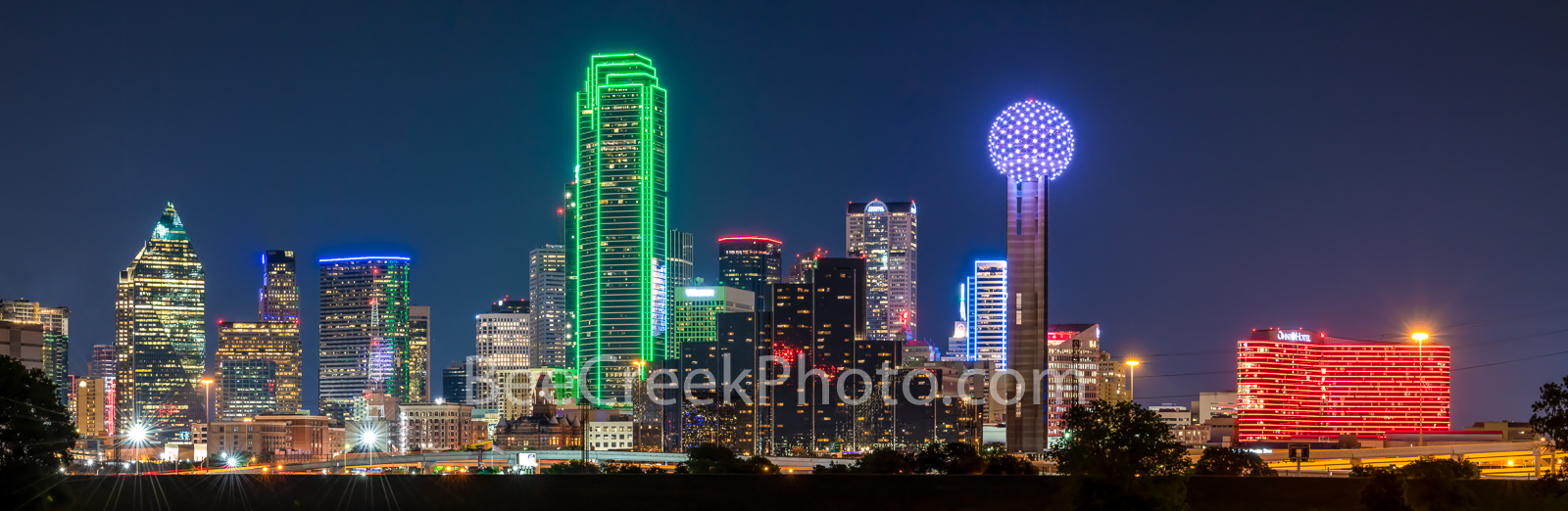 Dallas skyline, night, dallas pictures, Dallas, downtown, images, photo, Reunion Tower, Omni Hotel, Heritage Plaza, Fountain Place, Bank of America, colorful, texas skylines, photo