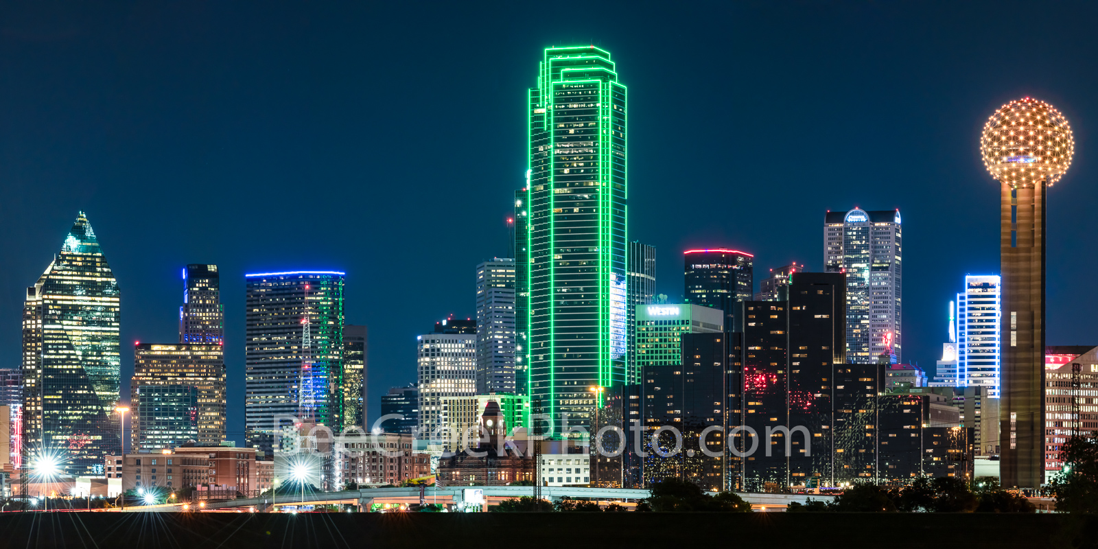 Dallas Skyline Pano Night 0081 - This is an panorama of the Dallas Skyline after dark with only the light from the high rise...