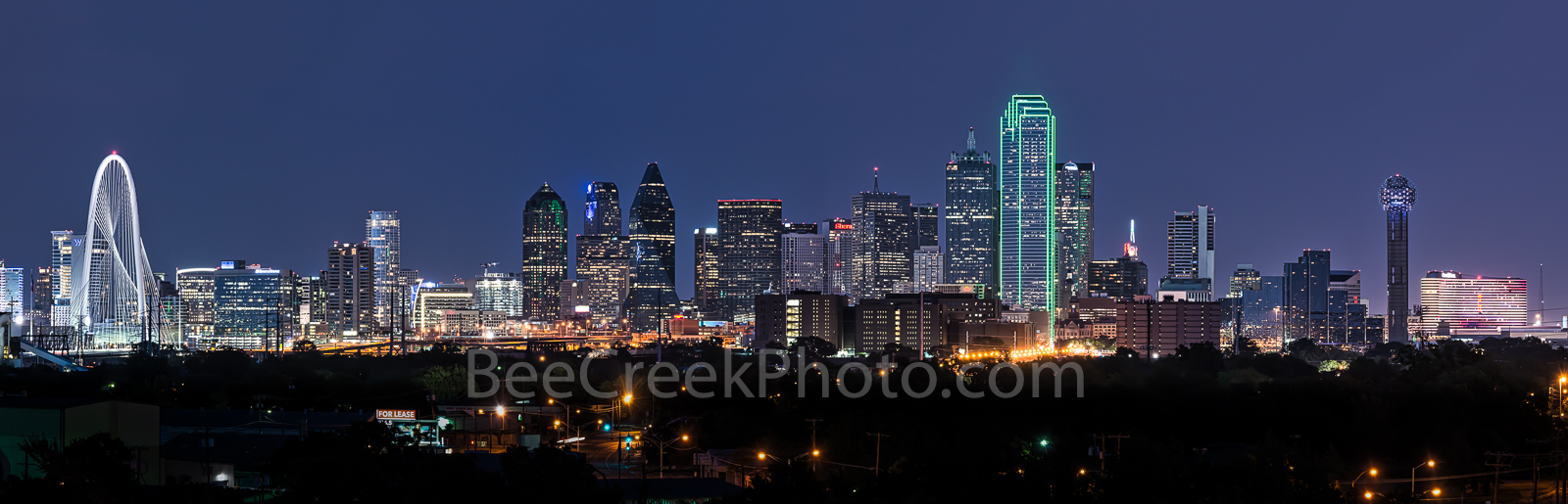Dallas, skyline, Margaret Hunt Hill bridge, Omni, Bank of america, plaza,  Reunion Tower, Fountain Plaza, cityscape, cityscapes, iconic,  dark, downtown, high rise, images of dallas, night, panorama,
