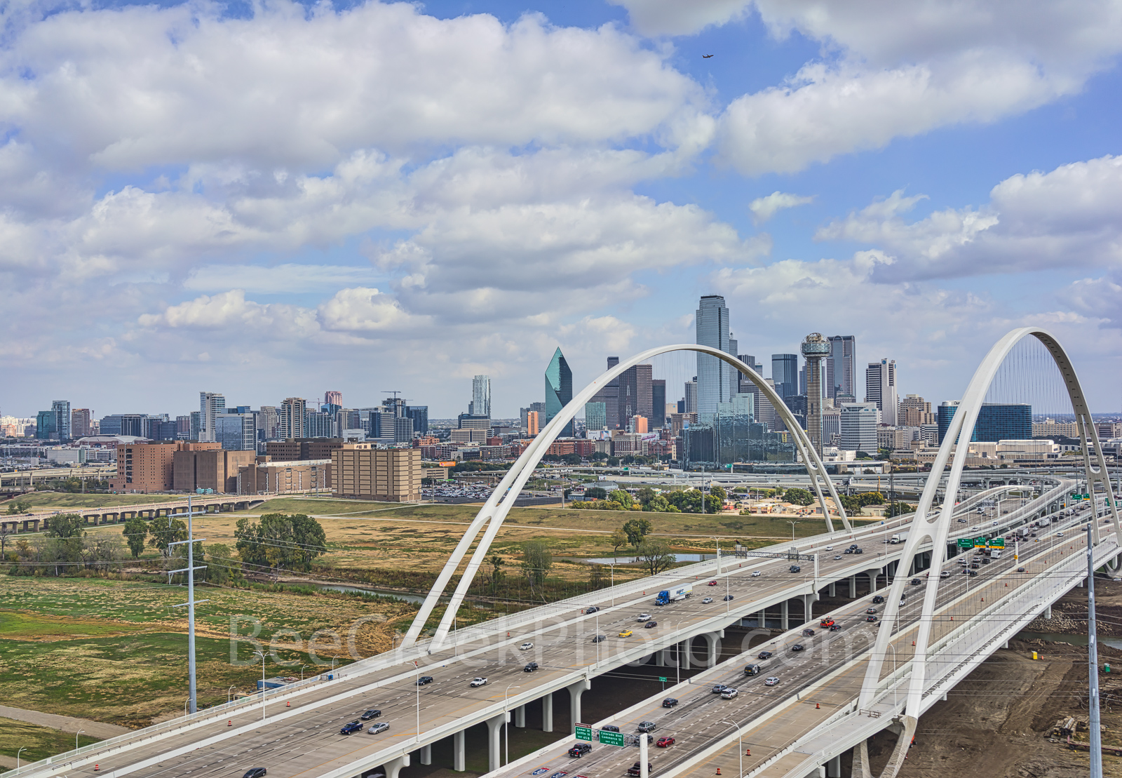 Dallas skyline, McDermott Bridge, downtown, puffy white clouds, blue sky, dallas skyline stock photos, Margaret McDermott Bridge,, photo