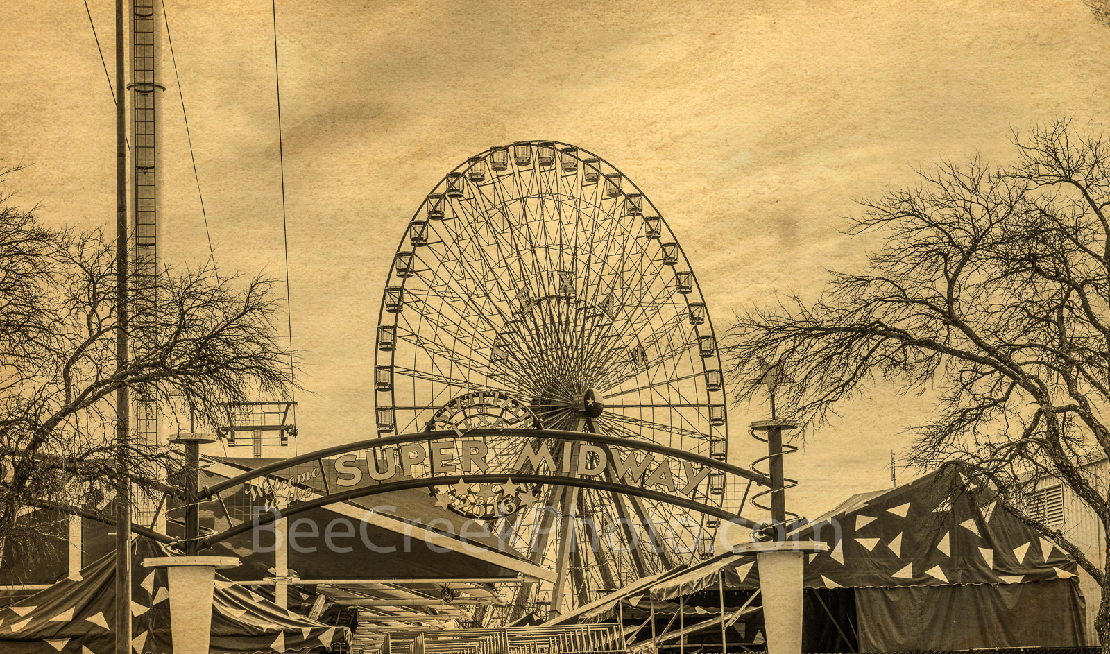 Dallas, Ferris wheel, Texas Star, Texas State Fair, amusement park, rides. museums, vintage, Fair Park, State fair, America, 1800, landmark,  music events, beer gardens, auto show, sepia,