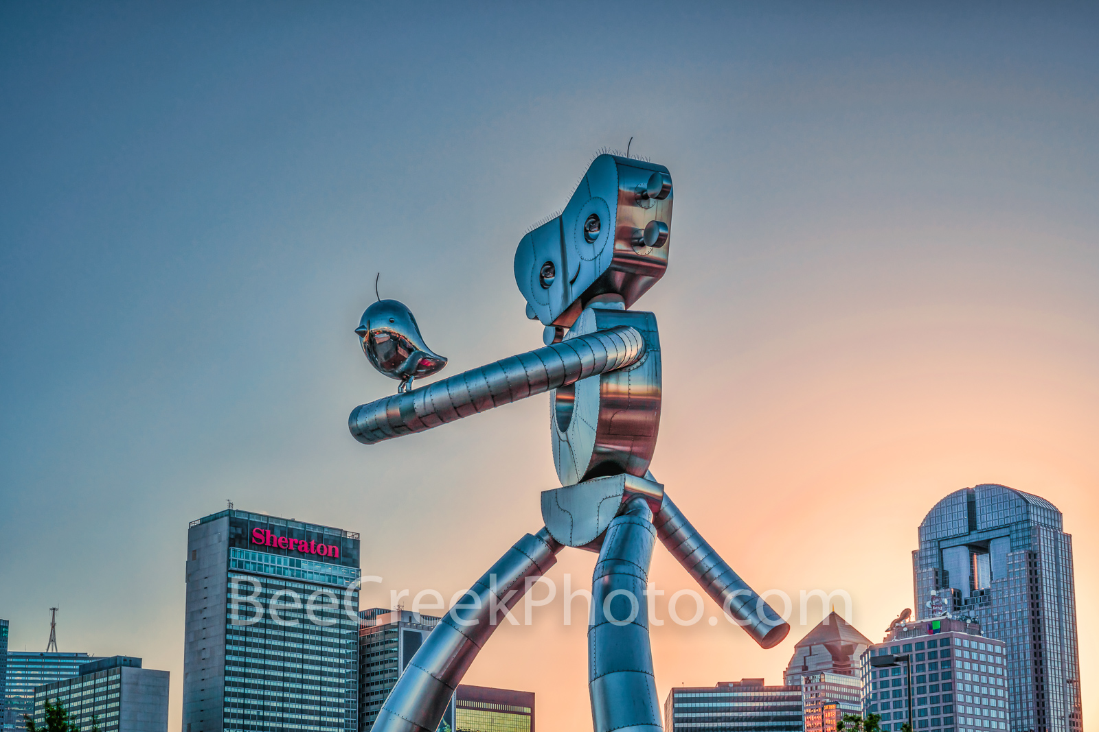 Dallas, traveling man, skyline, train, rail road, mass transit, scuplture, robot, strolling, bird, birds, Deep Ellum, cityscape, cityscapes, day, images of dallas, photos of dallas, pictures of dallas, photo