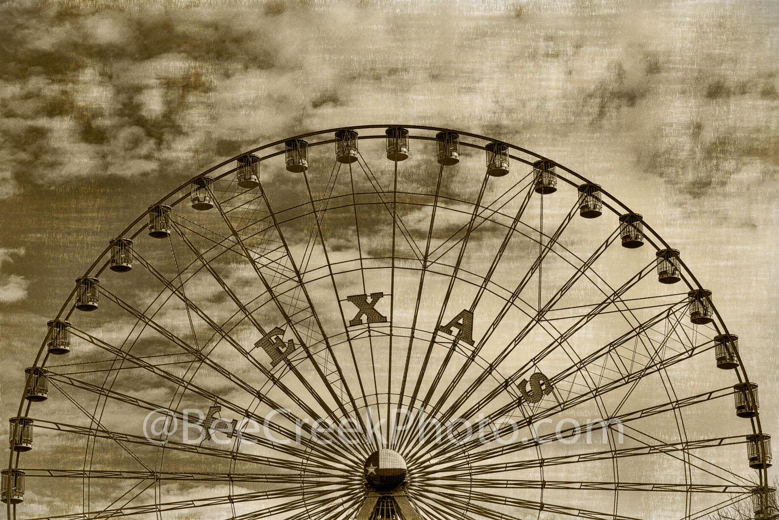 Dallas, Texas Star, aged, sepia, vintage, amusement park, rides, restaurnts, swan lake, Cotton bowl,