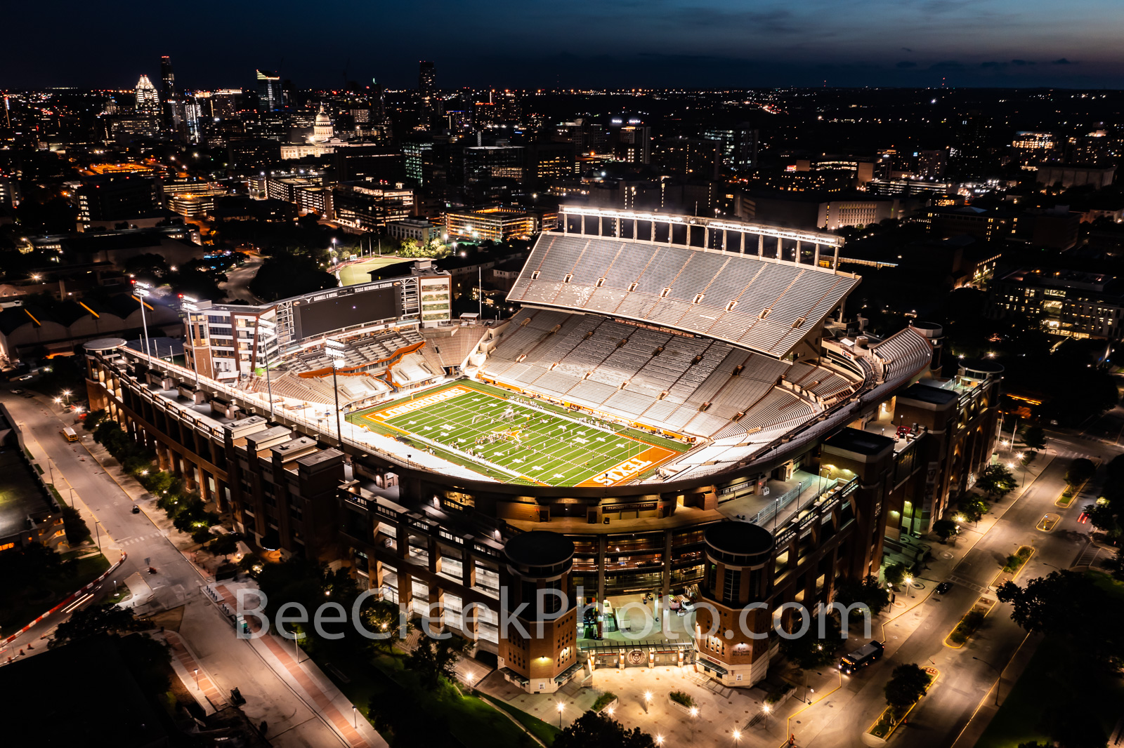 Darrell K Royal -Texas Memorial Stadium  - This is an aerial capture of the Darrell K Royal Memorial Stadium in Austin Texas...