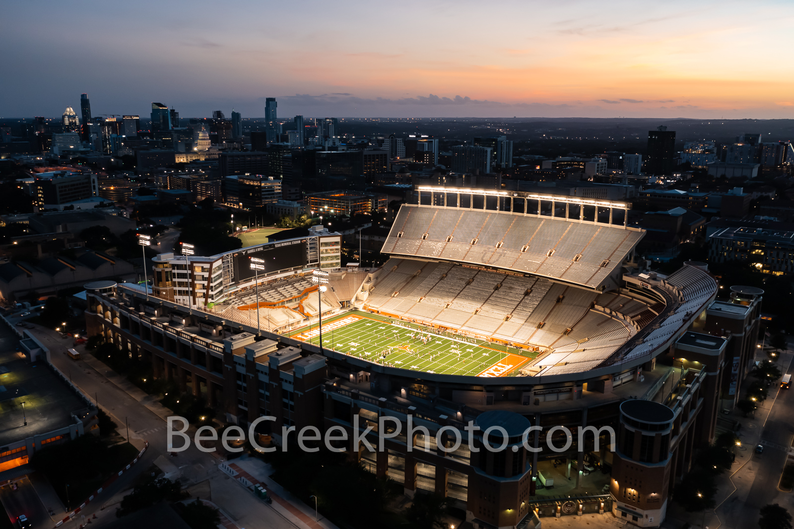 Darrell Royal -Texas Memorial Stadium at Sunset Glow  - This is an aerial capture of the Darrell K Royal Memorial Stadium in...