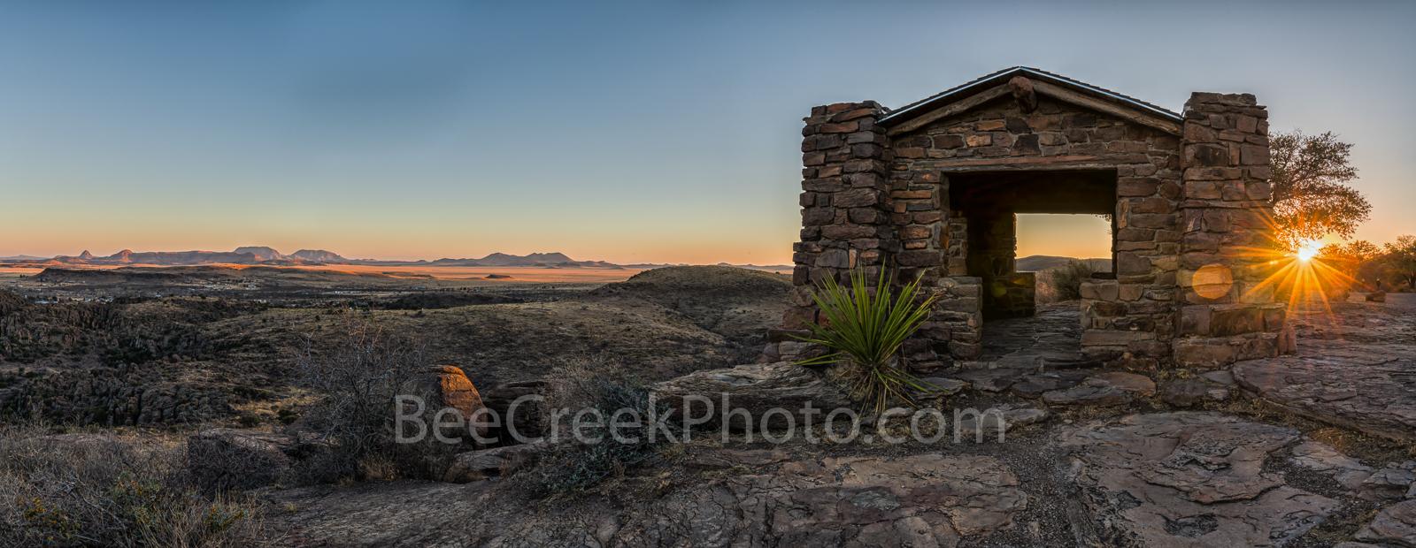Davis Mountain Overlook, sunset, panorama, pano, sunset, colors, rock pano, panorma, pamoramic, building, Texas landscape, mountain, Davis Mountain State Park, Fort Davis, west texas, Texan, USA, Unit, photo