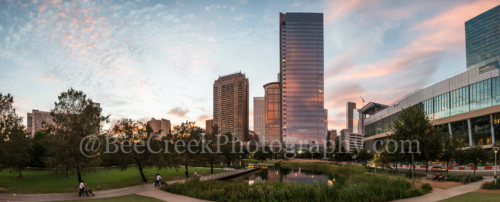 Discovery park, Houston, Marriot, building, city, cityscape, clouds, colors, downtown, high rise, pink, reflections, sky, skyline, sunset, photo