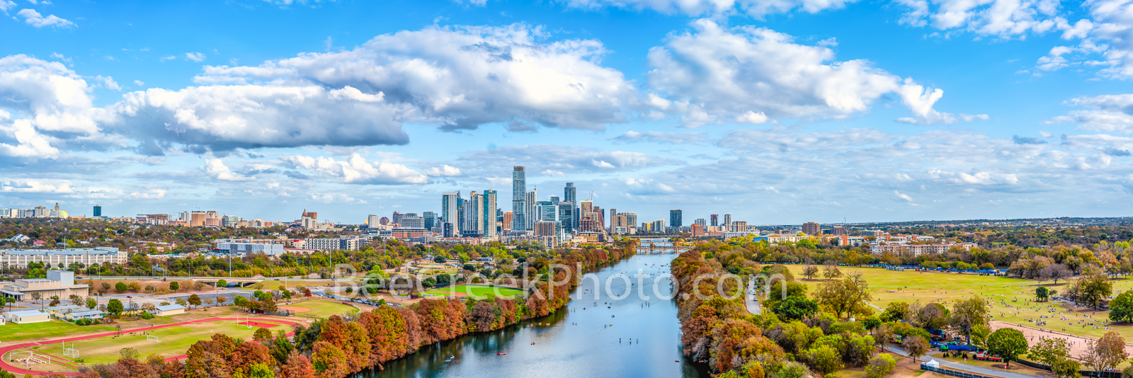 Distant View of Austin Skyline in Fall Pano - Fall can be fleeting in Texas, but we do have a short window where the bald cypress...