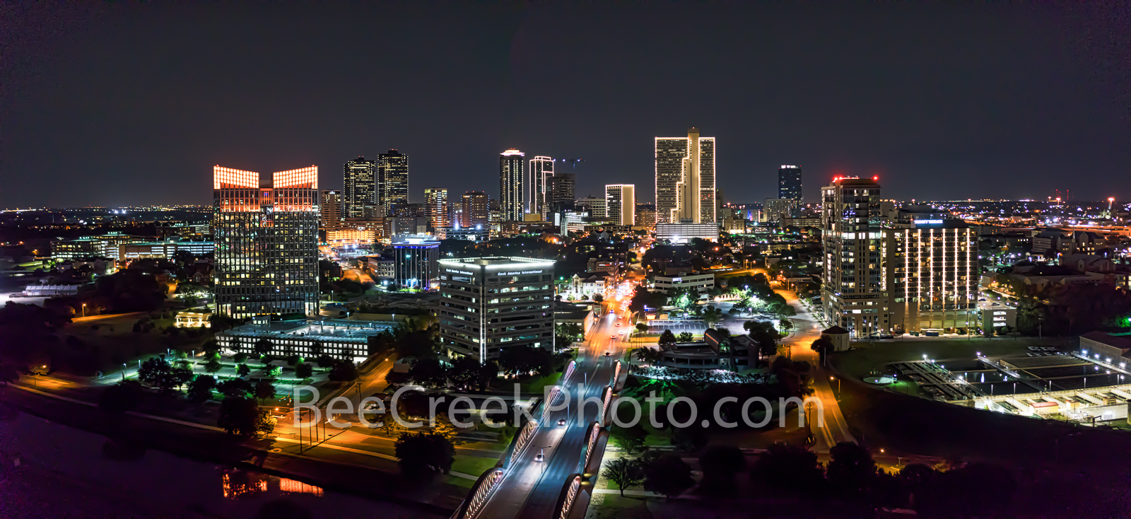 Fort Worth, Ft Worth, skyline, skylines, cityscape, cityscapes, downtown, night, seventh street bridge, 7th street, Trinity river, panorama, pano, Tarrant county, DFW Metro, downtown fort worth night,, photo