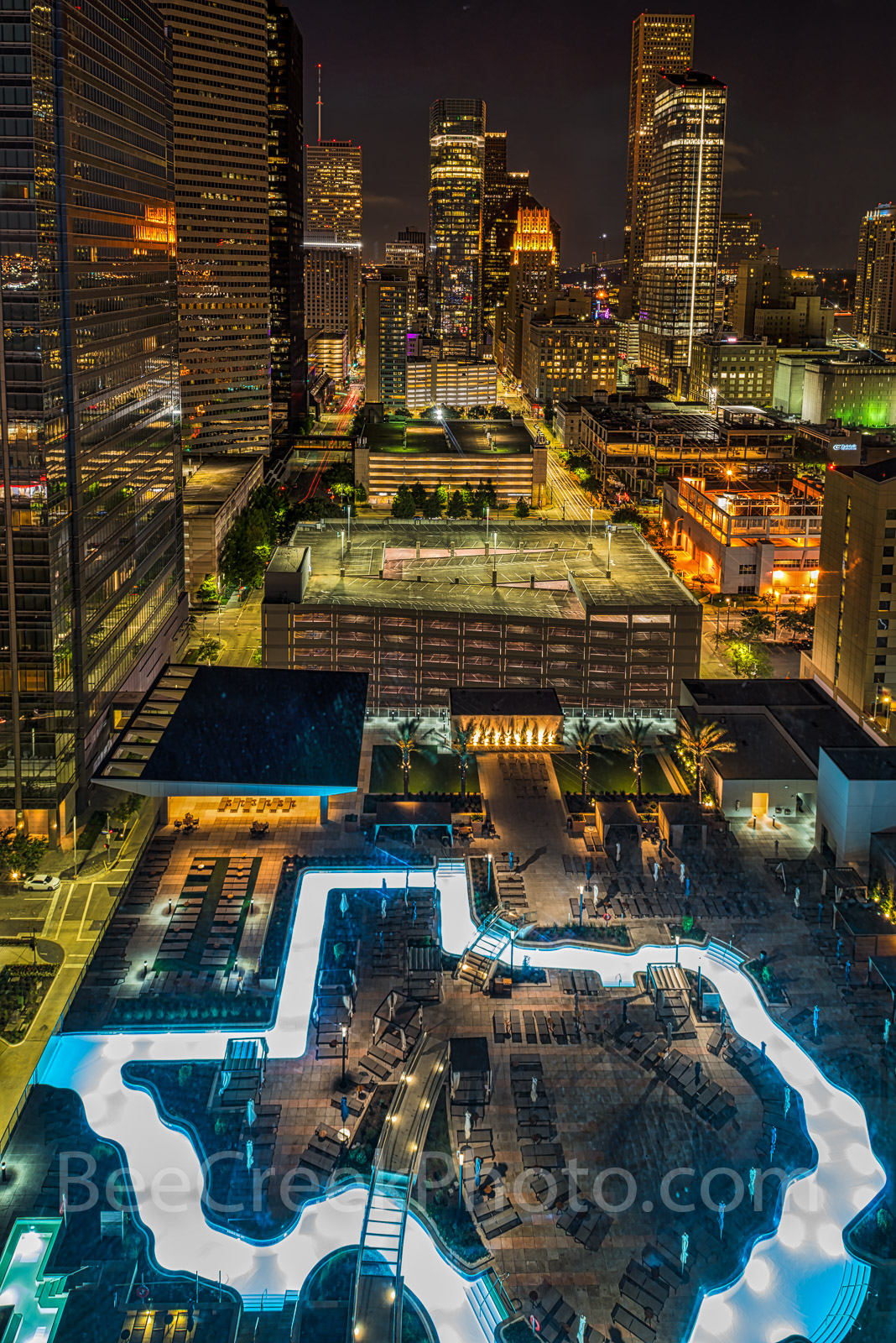 Houston, downtown, Texas shape pool, Marqui Marriott Hotel, night, cityscape, buildings, , photo