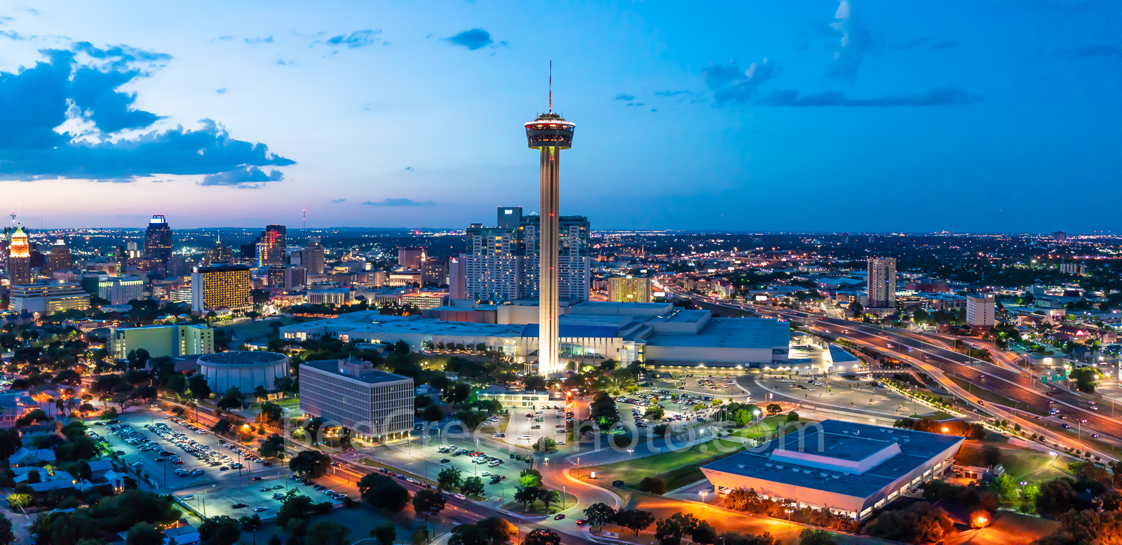San Antonio skyline, cityscape, dusk, aerial, Tower of America,Downtown San Antonio at Twilight, Tower Life, building, Drury Hotel, Grand Hyatt, George Gonzales, convention center, historic site, city, photo