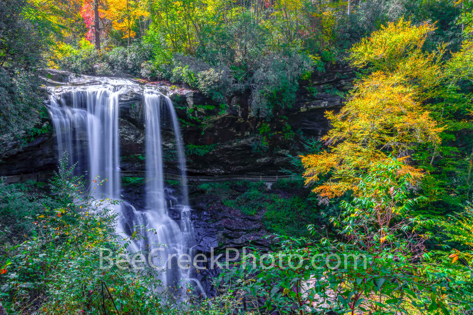 dry falls, waterfall, falls, stream, creek, flow, water falling, autumn, colors, smoky mountain, smokies, downstream, nature, natural,  north caroline, great smoky mountains, national scenic byway, na, photo