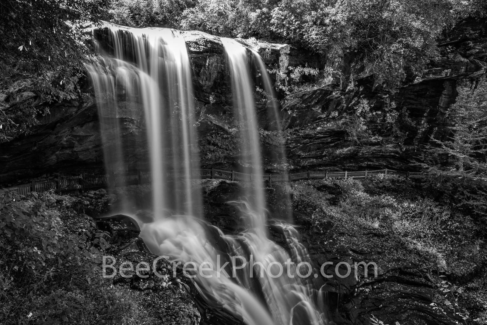 dry falls, waterfall, falls, black and white, b w,  water falling,  Smoky mountain, smokies, nature, natural,  North Caroline,  vertical, landscape, Cherokee, NC, , photo