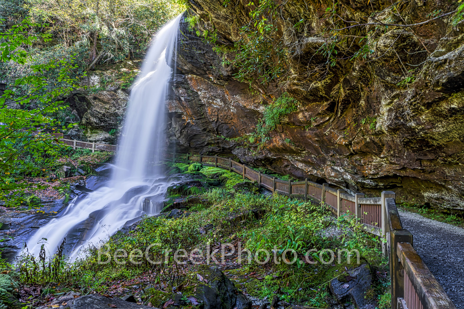 Dry Falls Smoky Mountain - The waterfall called dry fall in the the Smoky Mountain had water flowing over the cliff and it look...
