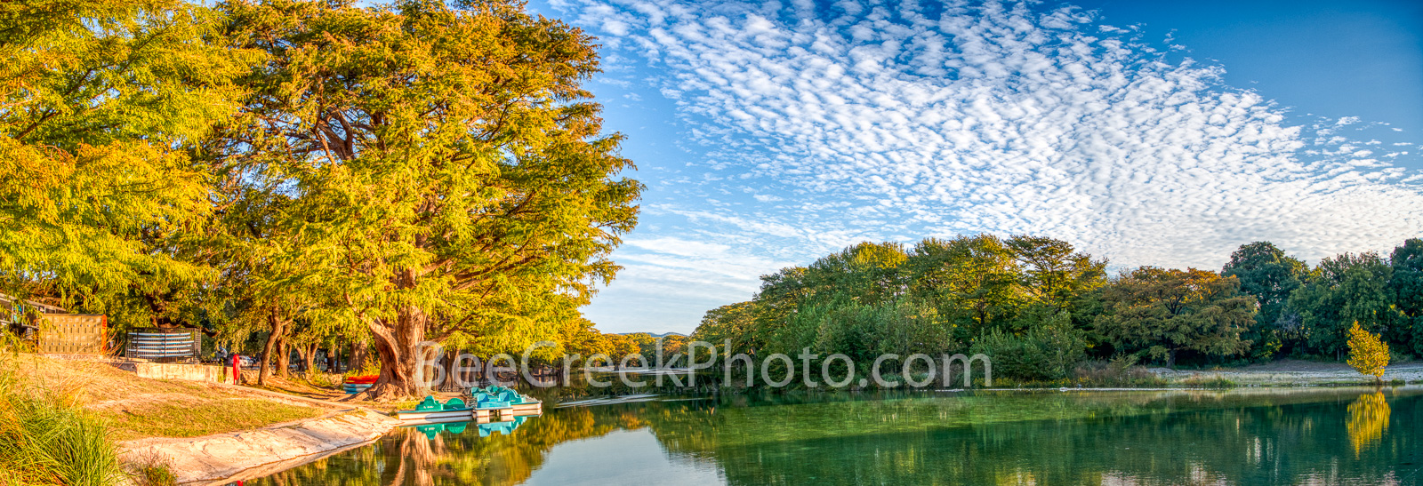 Garner State park, Frio river, river, paddle boats, bald cypress, blue sky, clouds, emerald green water, fall, pano, panorama, golden, burnt orange, rusty red, cypress, , photo
