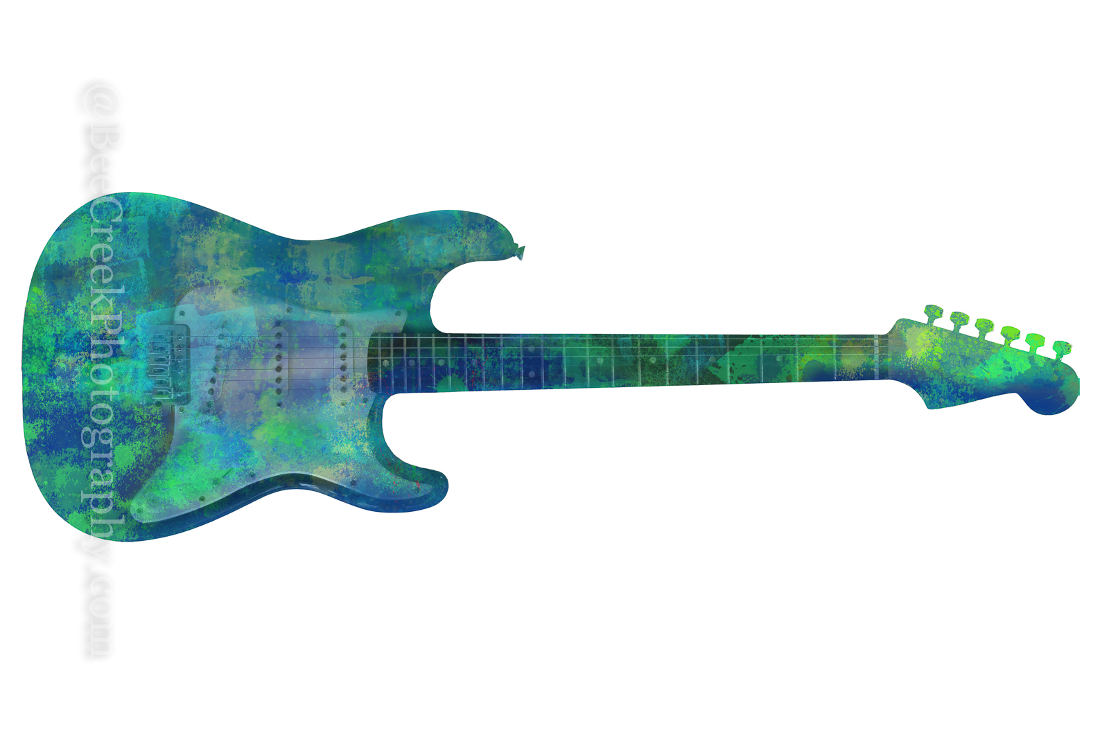 Electric Guitar Abstract on White  - This colorized abstract guitar with it differnt shades of blues, greens on a white background...