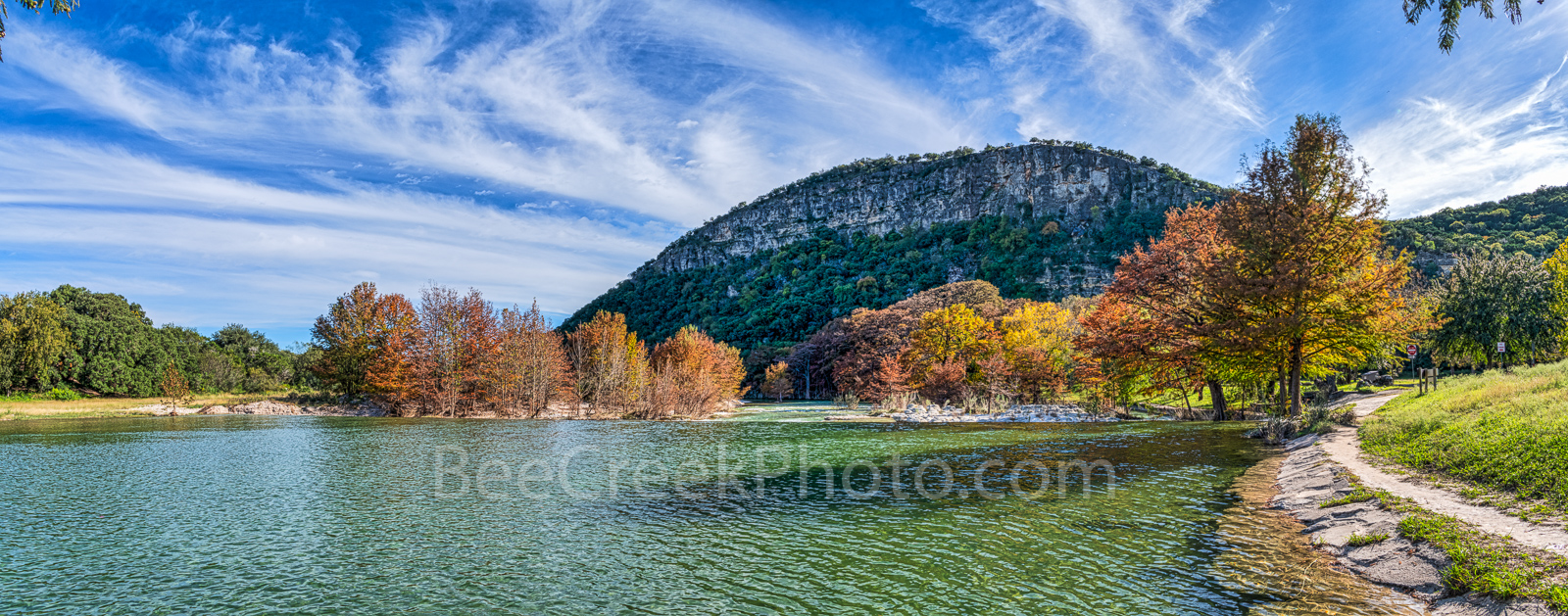 Fall, colors, Garner State Park, Texas landscape, canvas, prints, Texas hill country, trees, maples, cypress trees, old baldy, downstream, dam, rocks, panorama, pano, panoramic, beecreekphoto.com,, photo