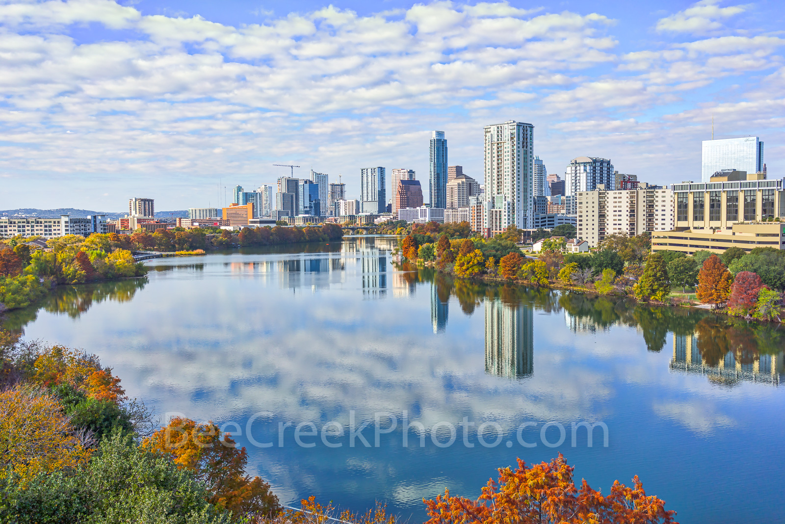 Austin skyline, fall, Lady Bird Lake, colors, aerial, shoreline, water reflections, buildings, trees, high rise, buildings, clouds, banks. downtown, Live Music Capital of teh World, Apple, IBM, drone,, photo