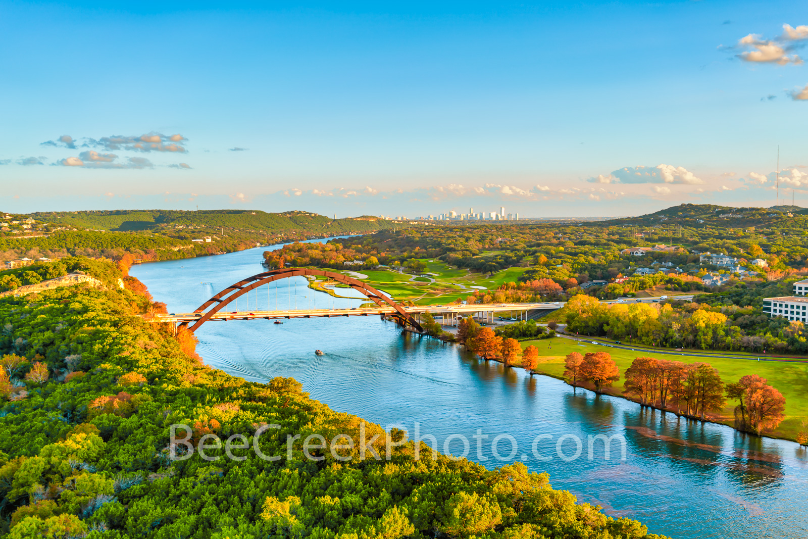 Fall Colors at Austin Pennybacker Bridge - Another aerial capture of the Austin Pennybacker bridge as the bald cypress display...