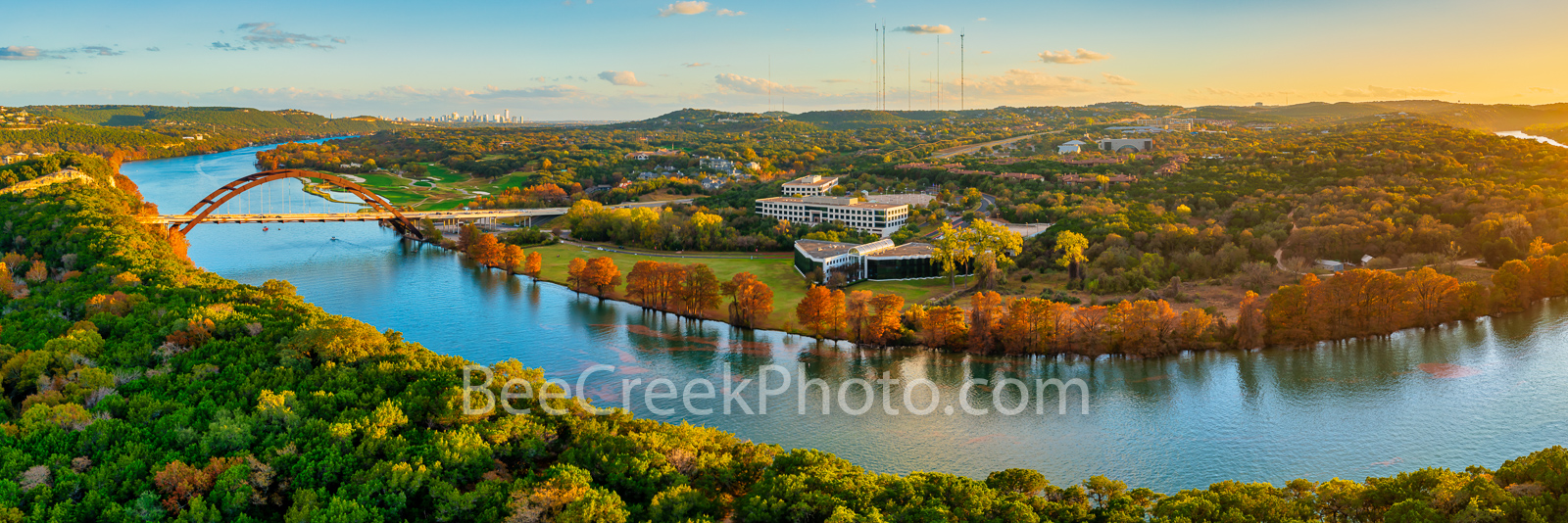 Fall Colors at Austin Pennybacker Bridge Pano - Another aerial capture of the Austin Pennybacker bridge as the bald cypress display...