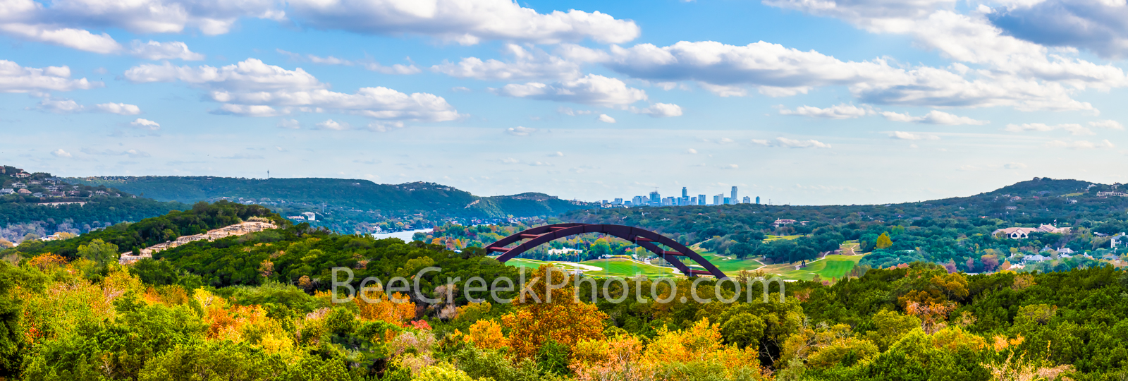 Fall Colors at Pennybacker Bridge Pano - This is another capture of the Austin Pennybacker or Austin 360 bridge panorama with...