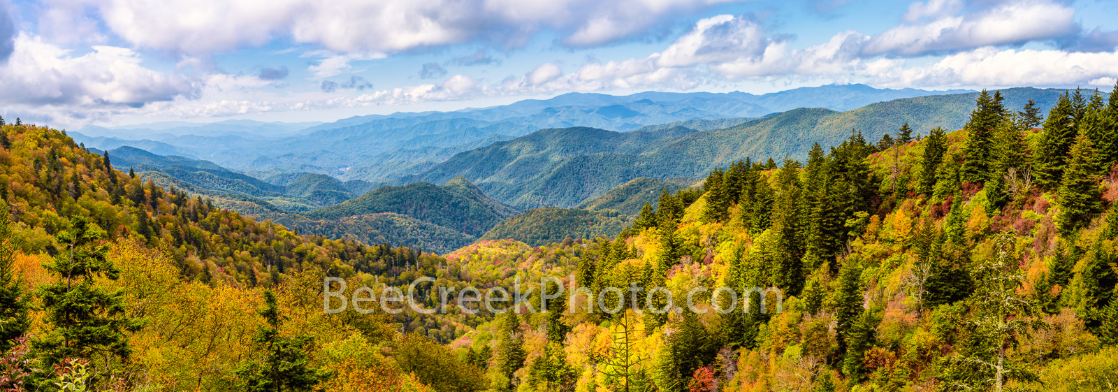 Fall Smoky Mountain Scenery Pano - Off the Blue Ridge Parkway you can find some incredible scenery.  I can't tell you exactly...