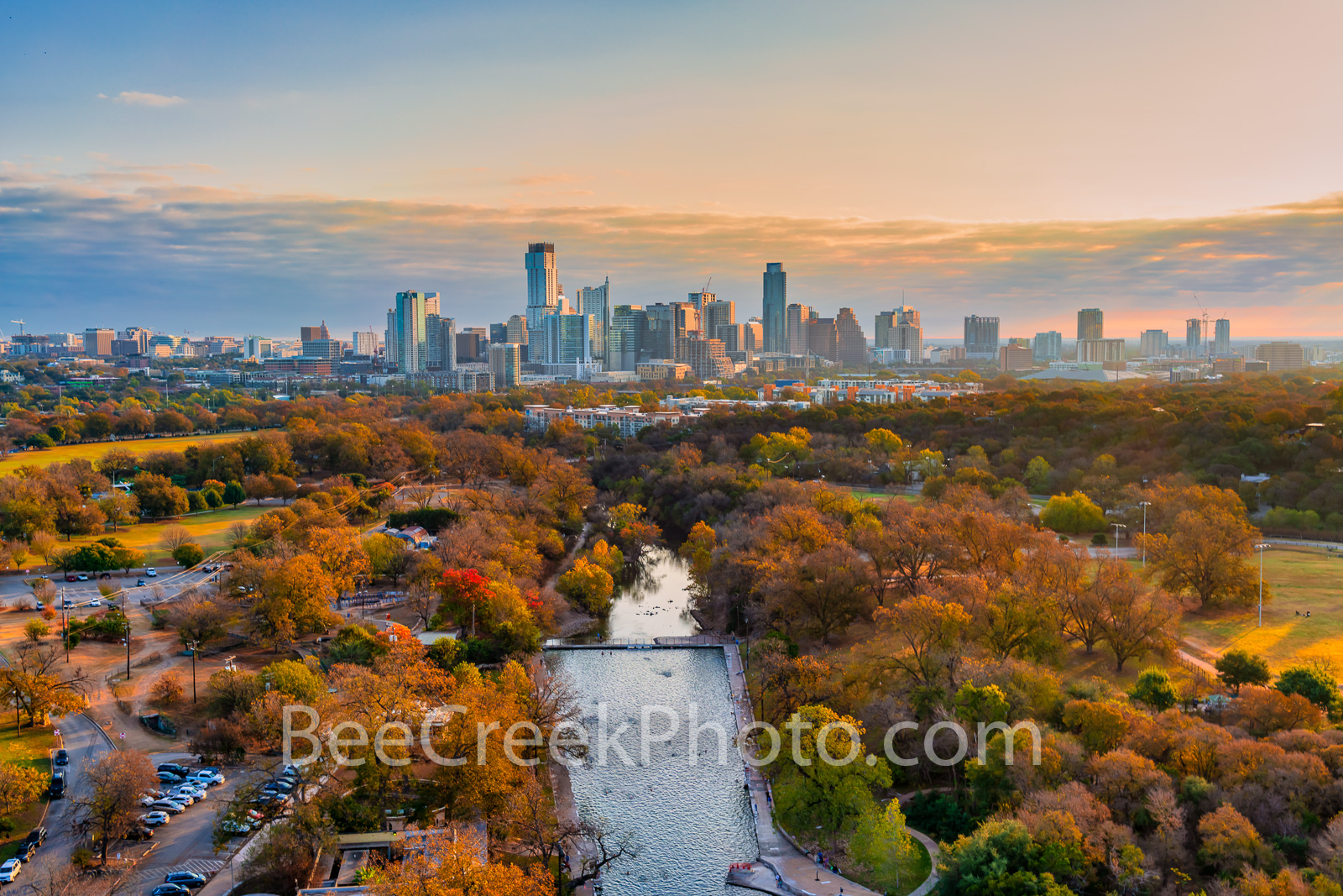 Fall Sunrise at Barton Springs Pool - This iconic capture of Barton Springs pool as the fall colors of the cypress trees surround...