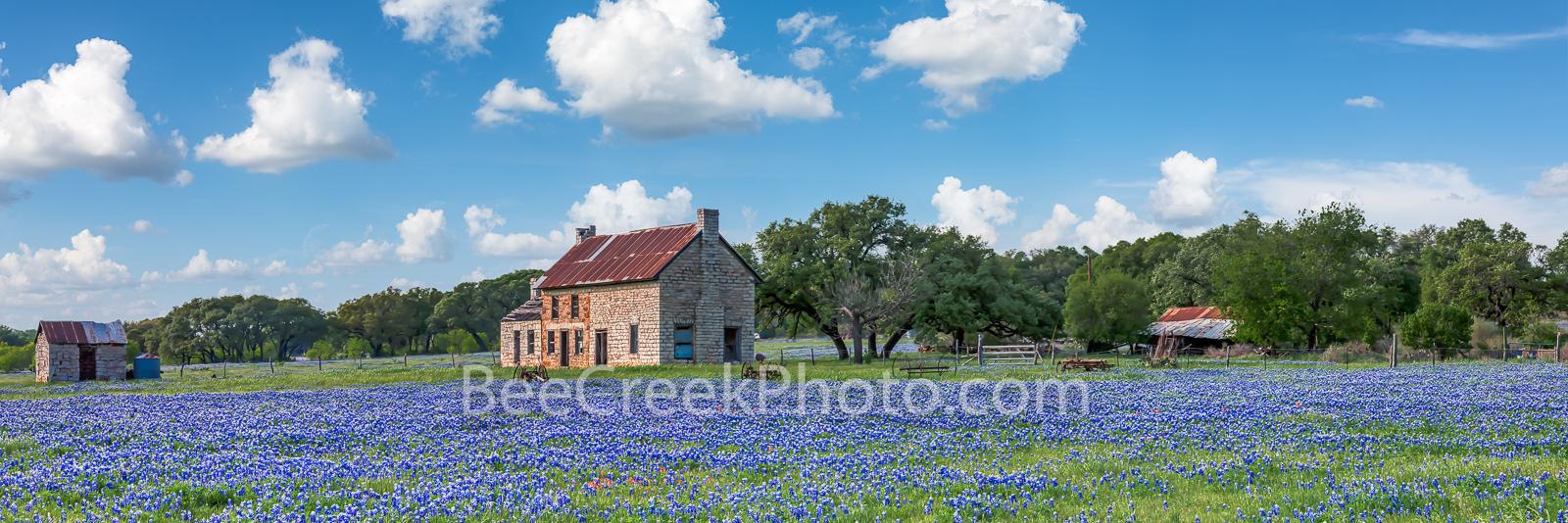 bluebonnet field, Texas Hill Country,  farm, farmhouse, farm equipment, old farmhouse, clouds, green, blue,  pano, panorama, german, farmer, , photo