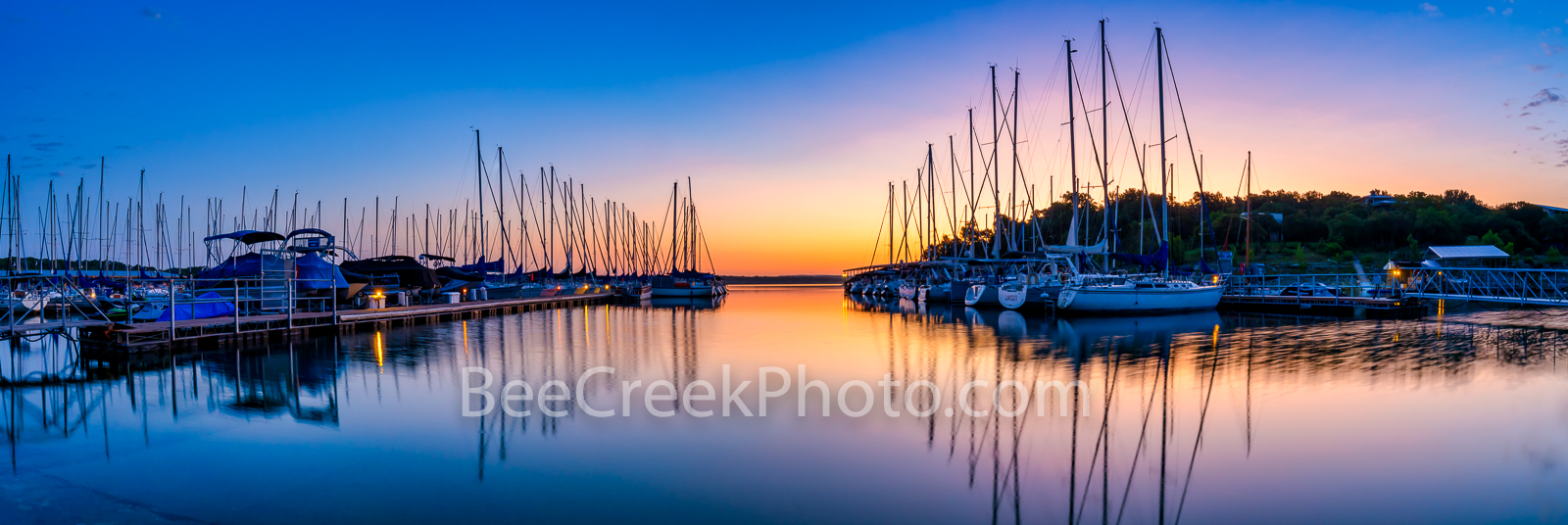 First Light - Lake Travis Marina Pano - We capture the sunrise first light over this marina on Lake Travis outside of Austin...