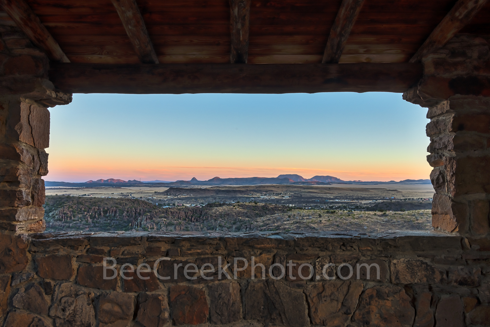 Davis mountains Window View, sunset, colors, Davis Mountains State Park, rock building, Texas landscape,  rock shelter, CCC, Civilian Conseration Corps, Campgrounds, Fort Davis, Texas,  west texas, , photo