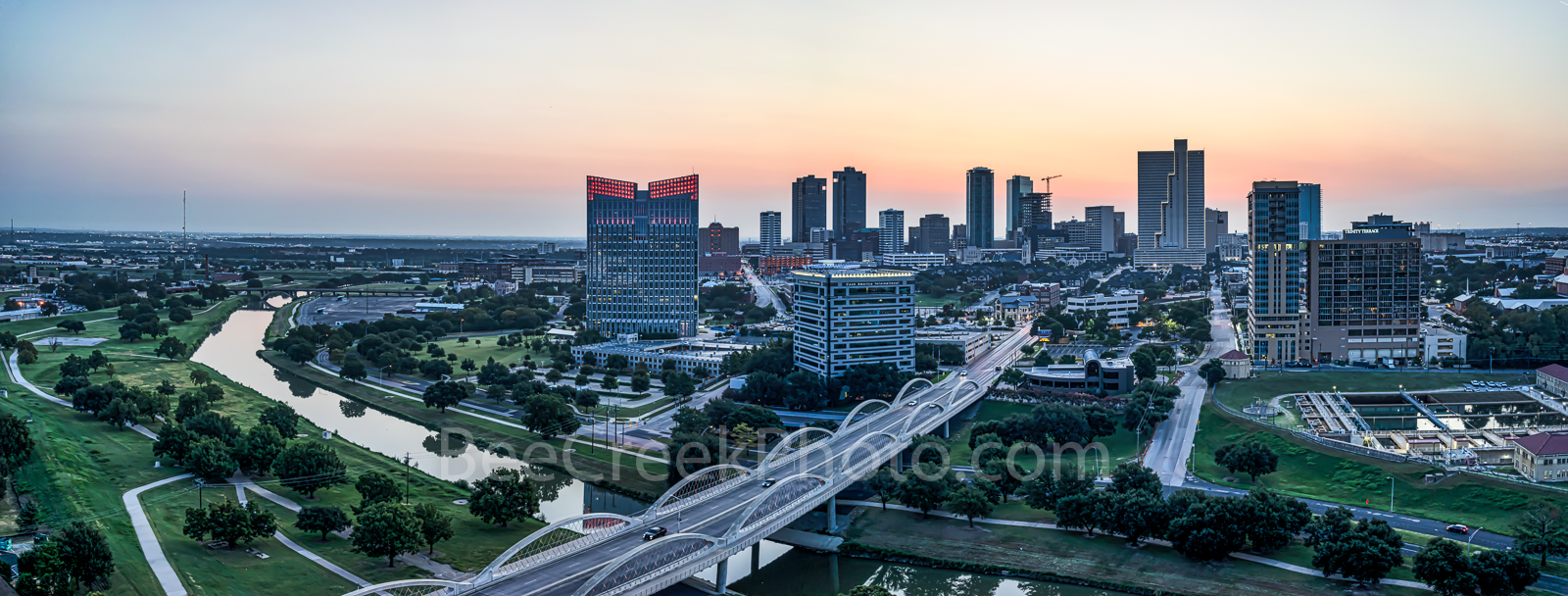 Fort Worth, Skyline, skylines, cityscape, cityscapes, Ft. Worth, downtown, sunrise, pink, seventh street bridge, 7th street bridge, Trinity river, Texas, city, panorama, pano,, photo