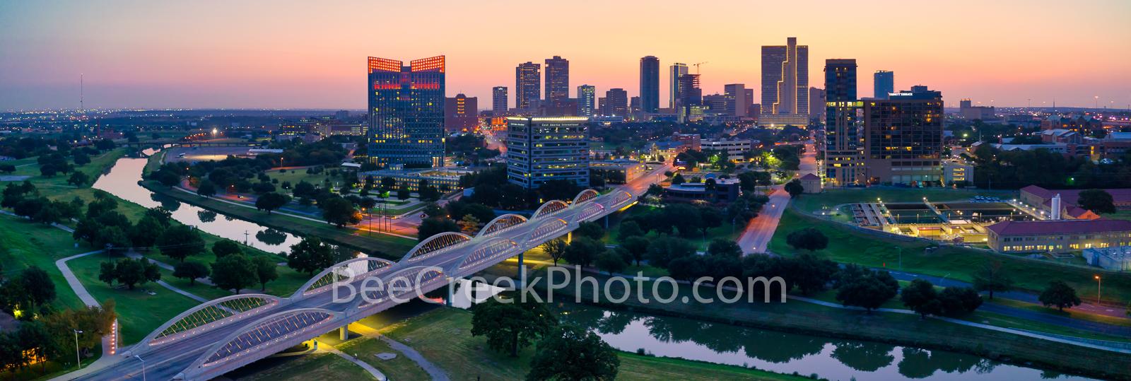 Fort Worth, Skyline, skylines, Ft. Worth, dawn, downtown, sunrise, seventh street bridge, 7th street bridge, Trinity river, Texas, panorama, pano, city of fort worth, , photo