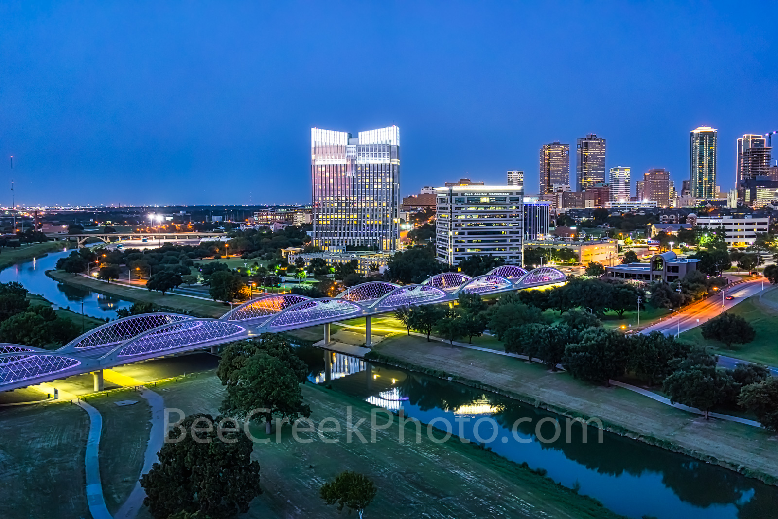 Fort Worth Skyline, twilight, blue hour, Fort Worth, Ft Worth, skyline, skylines, cityscape, cityscapes, downtown, seventh street bridge, 7th street, Trinity river, panorama, pano, Tarrant county,  DF, photo